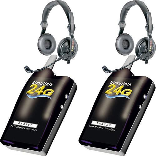 Eartec 2 Simultalk 24G Beltpacks with SlimLine Double Headsets