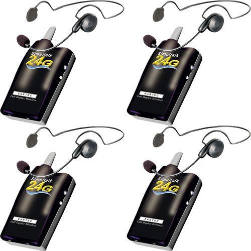 Eartec 4 Simultalk 24G Beltpacks with Cyber Headsets