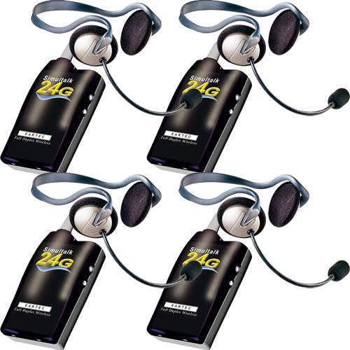 Eartec 4 Simultalk 24G Beltpacks with Monarch Headsets