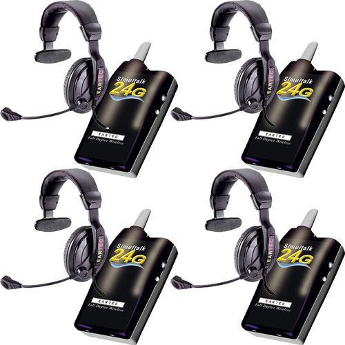 Eartec 4 Simultalk 24G Beltpacks with ProLine Single Headsets