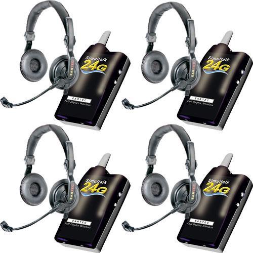 Eartec 4 Simultalk 24G Beltpacks with SlimLine Double Headsets