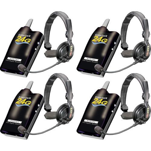 Eartec 4 Simultalk 24G Beltpacks with SlimLine Single Headsets