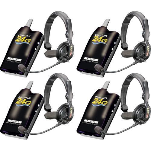 Eartec 4 Simultalk 24G Beltpacks with SlimLine Single Headsets