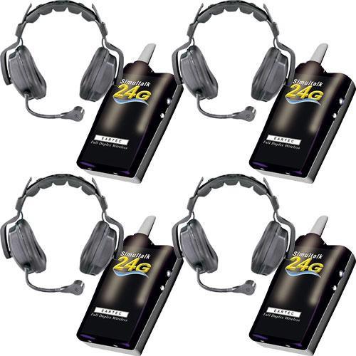 Eartec 4 Simultalk 24G Beltpacks with Ultra Double Headsets