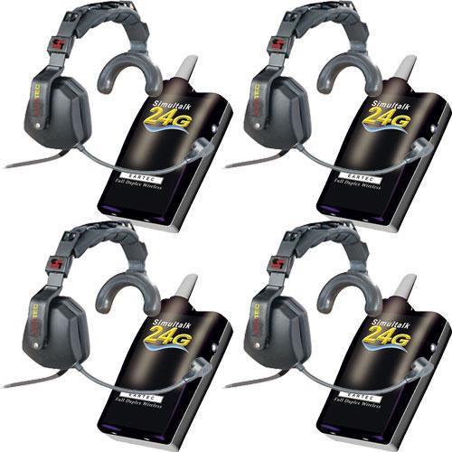 Eartec 4 Simultalk 24G Beltpacks with Ultra Single Headsets