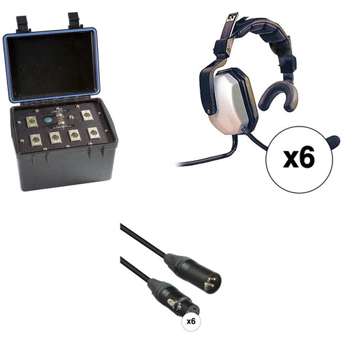 Eartec Six-Person Wired Intercom System with Single-Sided Headsets (TCS)