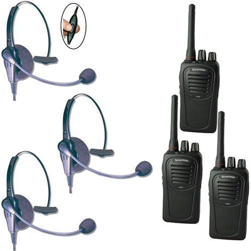Eartec Three-User SC-1000 Two-Way Radio System & Eclipse Inline PTT Headsets