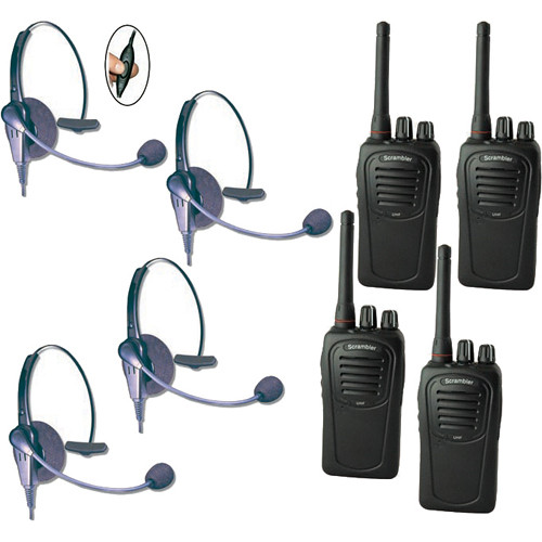 Eartec SC-1000 4-User Two-Way Radio System with Eclipse Inline PTT Headsets