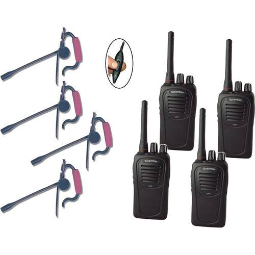Eartec 4-User SC-1000 Two-Way Radio System with Edge Inline PTT Headsets