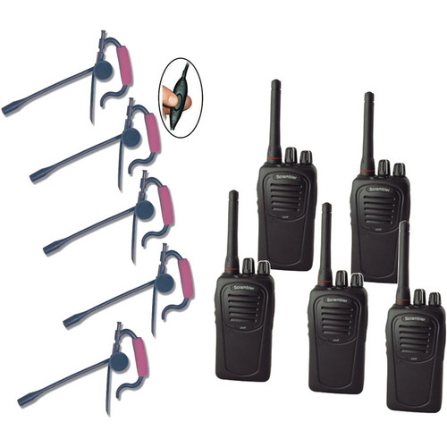 Eartec 5-User SC-1000 Two-Way Radio System with Edge Inline PTT Headsets