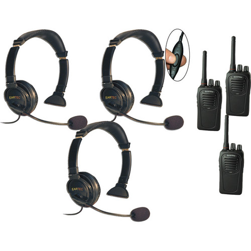 Eartec Three-User SC-1000 Two-Way Radio System with Lazer Inline PTT Headsets