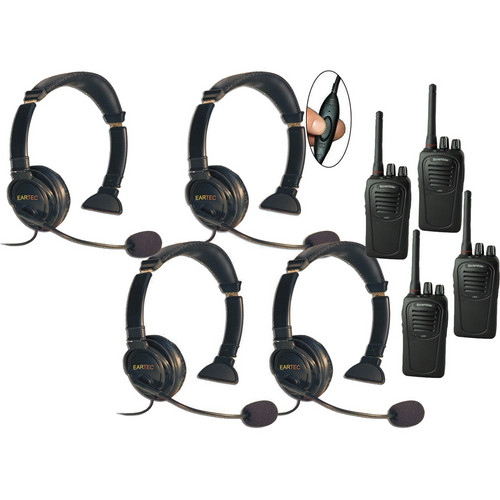 Eartec Four-User SC-1000 Two-Way Radio System with Lazer Inline PTT Headsets