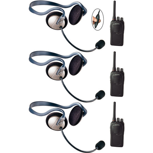 Eartec 3-User SC-1000 Two-Way Radio System with Monarch Inline PTT Headsets