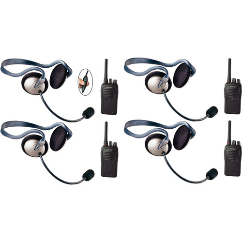 Eartec 4-User SC-1000 Two-Way Radio System with Monarch Inline PTT Headsets