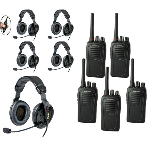 Eartec 5-User SC-1000 Two-Way Radio with Proline Double Inline PTT Headsets