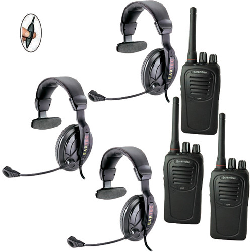 Eartec 3-User SC-1000 Two-Way Radio with Proline Single Inline PTT Headsets