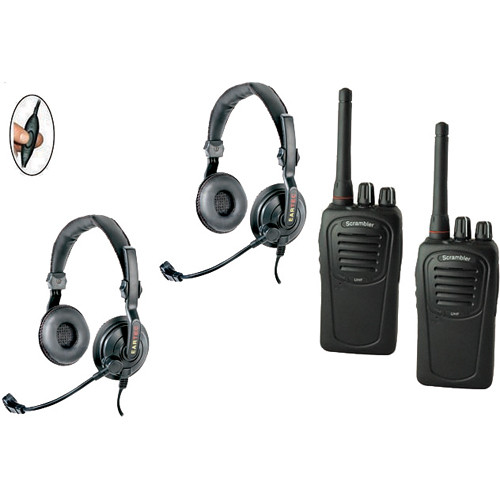Eartec 2-User SC-1000 Two-Way Radio with Slimline Double Inline PTT Headsets