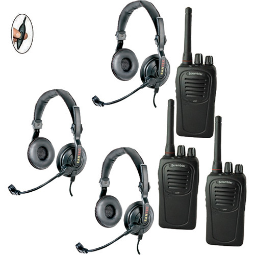 Eartec SDSC3000IL Complete 3-Person Push-to-Talk System with Slimline Double Headsets