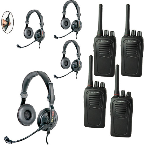 Eartec 4-User SC-1000 Two-Way Radio with Slimline Double Inline PTT Headsets