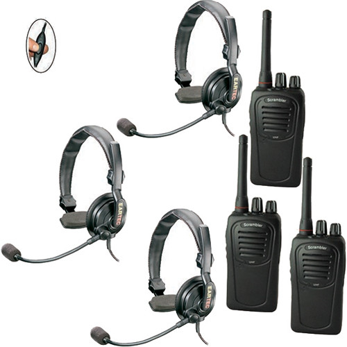 Eartec 3-User SC-1000 Two-Way Radio with Slimline Single Inline PTT Headsets