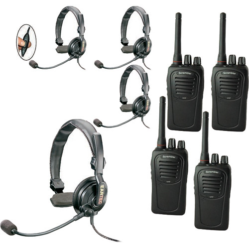 Eartec 4-User SC-1000 Two-Way Radio with Slimline Single Inline PTT Headsets