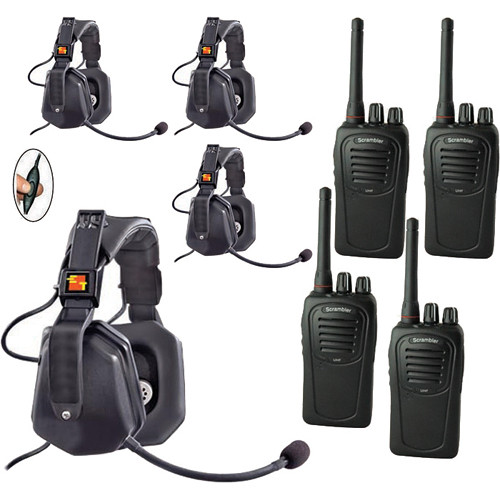 Eartec 4-User SC-1000 Two-Way Radio with Ultra Double Inline PTT Headsets
