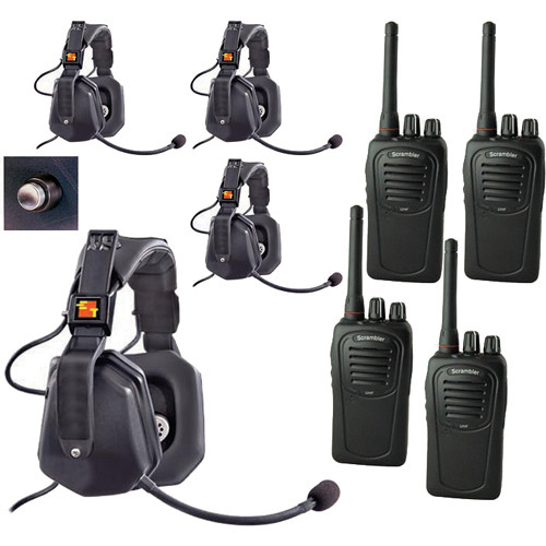 Eartec 4-User SC-1000 Two-Way Radio with Ultra Double Shell Mount PTT Headsets