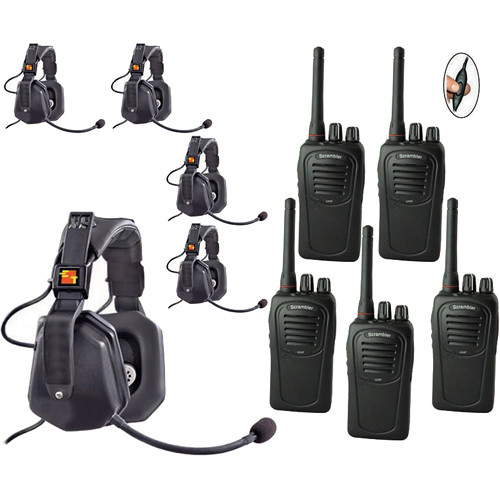 Eartec 5-User SC-1000 Two-Way Radio with Ultra Double Inline PTT Headsets