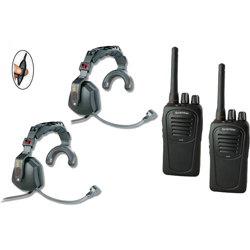 Eartec 2-User SC-1000 Two-Way Radio with Ultra Single Inline PTT Headsets