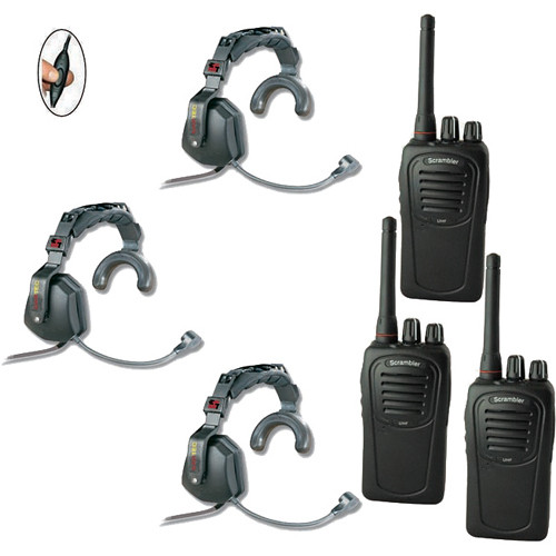 Eartec 3-User SC-1000 Two-Way Radio with Ultra Single Inline PTT Headsets