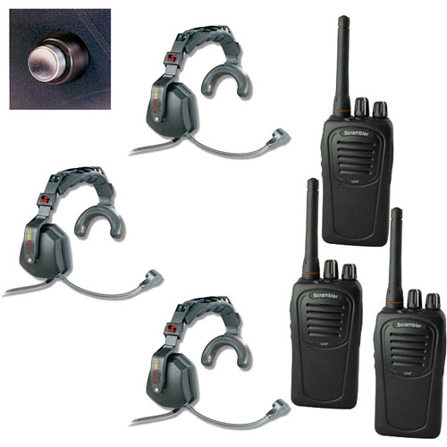 Eartec 3-User SC-1000 2-Way Radio with Ultra Single Shell Mount PTT Headsets
