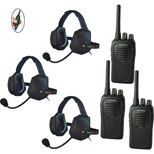 Eartec 3-User SC-1000 Two-Way Radio with XTreme Inline PTT Headsets