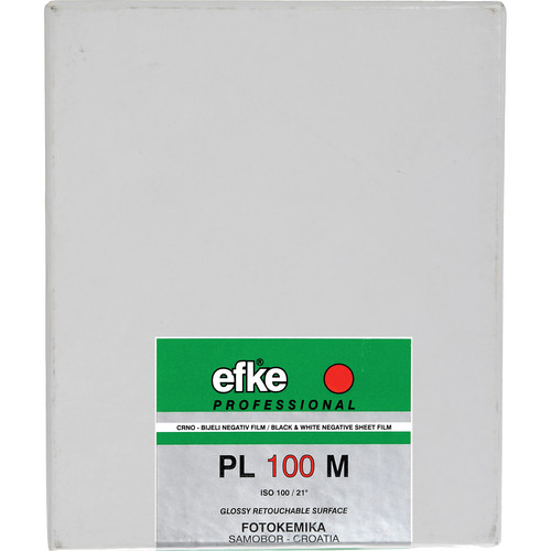 "Efke 4 x 5"" PL 100M Black and White ISO 100 Negative Film (50 Sheets)"