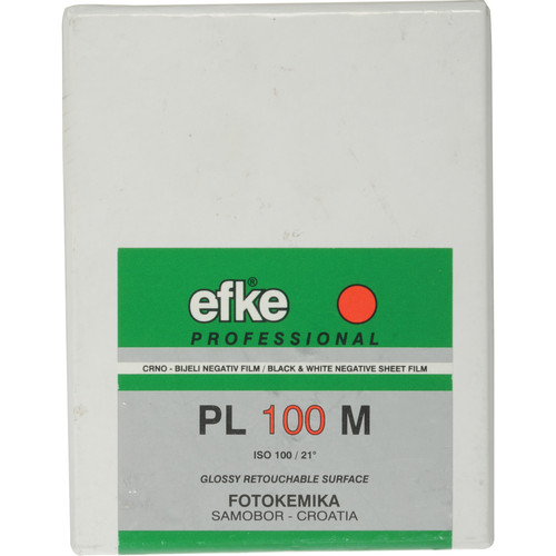 "Efke 2.25 x 3.25"" PL 100 M Black and White ISO 100 Negative Film (25 Sheets)"