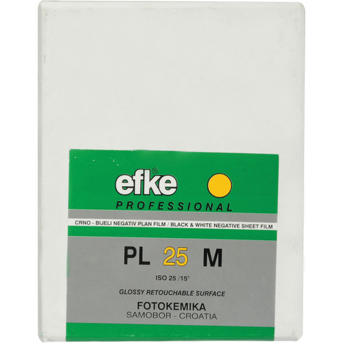 "Efke 2.25 x 3.25"" PL 25M Black and White ISO 25 Negative Film (25 Sheets)"
