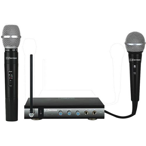 Emerson Karaoke WM315 Wireless and Corded Microphone System for Karaoke