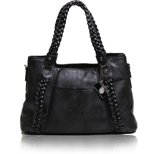 Epiphanie Clover Shoulder Bag (Black with Beige Interior)