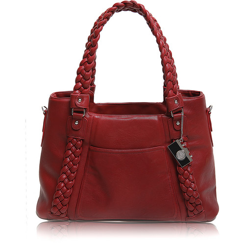 Epiphanie Clover Shoulder Bag (Red with Brown Interior)