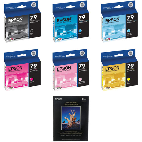 "Epson 79 Ink Six Cartridge Kit with 50 8x11"" Sheets of Epson Ultra Premium Luster Paper"