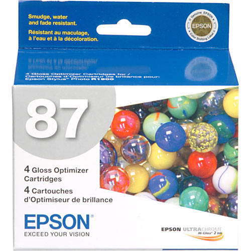 """Epson 87 Ink Cartridge Kit with 50 Sheets of 8.5 x 11"""" Epson Ultra Premium Luster Paper"""