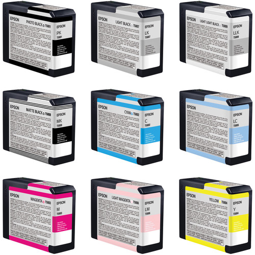 Epson UltraChrome K3 9-Cartridge Ink Set for Stylus Pro 3800 Printer (80 ml)