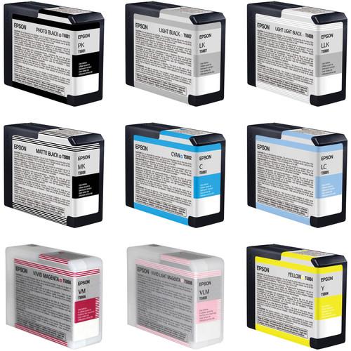 Epson UltraChrome K3 9-Cartridge Ink Set for Stylus Pro 3880 Printer (80 ml)