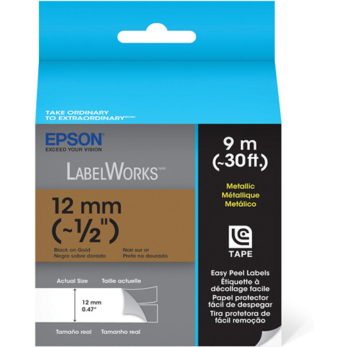 "Epson Black On Gold 1/2"" Metallic Tape (30')"
