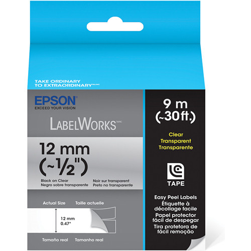 """Epson Black On Clear 1/2"""" Clear Tape (30')"""