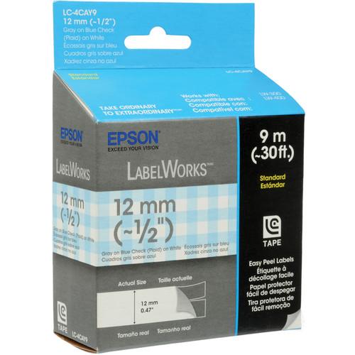 "Epson Gray On Blue & White Plaid 1/2"" Standard Tape (30')"