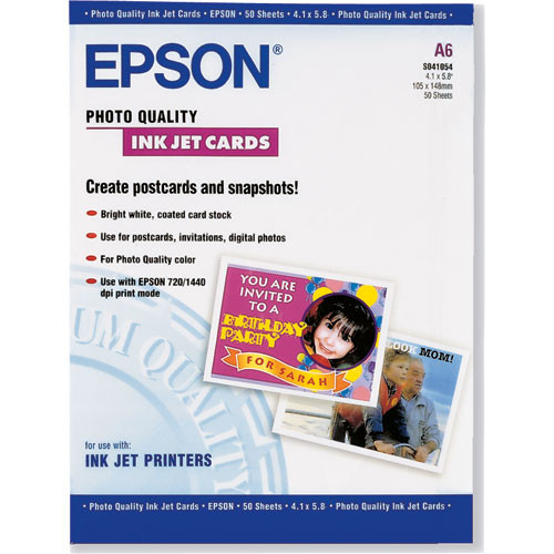 "Epson Photo Quality Inkjet Cards - 4.1x5.8"" - 50 Sheets"