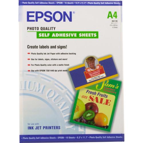"Epson Photo Quality Self-Adhesive Sheets (A4 8.3 x 11.7"", 10 Sheets)"