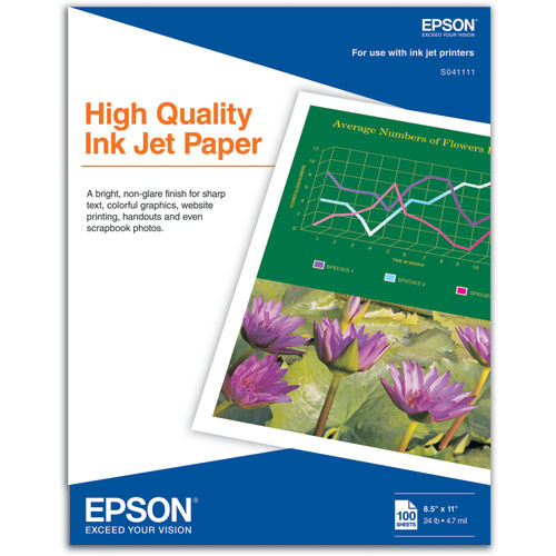 "Epson High Quality Inkjet Paper (8.5 x 11"", 100 Sheets)"