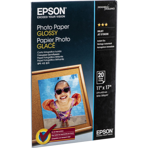 "Epson Photo Paper Glossy (11 x 17"", 20 Sheets)"