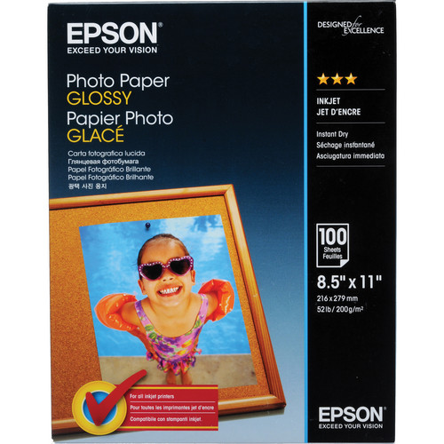 """Epson Photo Paper Glossy (8.5 x 11"""", 100 Sheets)"""